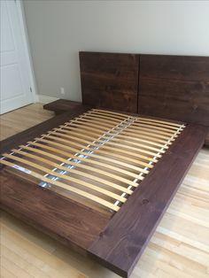 Platform Bed Frame with Floating Side Tables