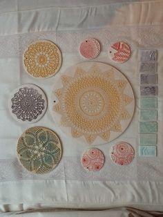 Crochet doily imprint ceramic wall plates by Amanda Roberts Ceramics