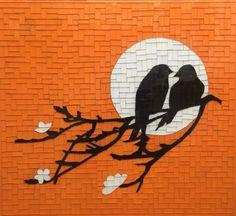 Kuşlar, Cam Mozaik by Altınok Mosaic Drawing, Mosaic Tile Art, Mosaic Birds, Mosaic Artwork, Mosaic Diy, Mosaic Crafts, Drawing Drawing, Mosaic Designs, Mosaic Patterns