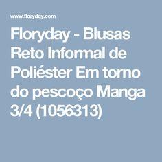 Floryday - Blusas Reto Informal de Poliéster Em torno do pescoço Manga 3/4 (1056313)