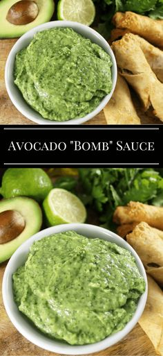 """Healthy Meals avocado-bomb-sauce More: - The """"Bomb"""" Sauce as Aaron calls it, is an avocado sauce you can use for almost anything! The avocado """"Bomb"""" Sauce is a must have recipe. Mexican Food Recipes, Vegan Recipes, Cooking Recipes, Ethnic Recipes, Cooking Time, Bomb Sauce, Healthy Meals, Healthy Eating, Healthy Food"""