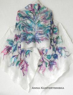 Nuno fieltro bufanda de seda chal violeta jardín por kantorysinska