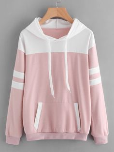 To find out about the Contrast Panel Varsity Striped Hoodie at SHEIN, part of our latest Sweatshirts ready to shop online today! Pullover Hoodie, Hoodie Sweatshirts, Sweater Hoodie, Sports Hoodies, Cool Hoodies, Pink Hoodies, Casual Outfits, Fashion Outfits, Mens Fashion