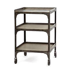 $450  Metal table. Use this industrial metal table for storage as a bookshelf or by the sofa or bed as an end table. Goes great in any room of your home for that factory look. (20w x 20d x 30h).