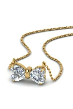 Heart Bow Diamond Necklace