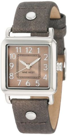 Nine West Women%27s NW%2F1201DGDG Easy-to-Read Square Silver-Tone Dial Dark Grey Strap Watch