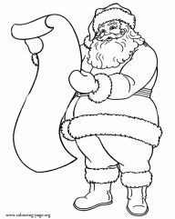 Christmas Santa Claus and the list of gifts coloring page
