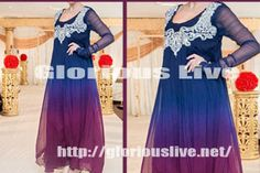 Crinkle chiffon shirt in dark blue looks striking with purple beautiful embellishment with silver zari and dabka work looking gorgeous.  Blue or purple color also used to give dreamy look and combination seems also to be very attractive
