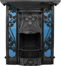 Toulouse Art Nouveau Black Finish Cast Iron Combination Fireplace from around 1900