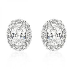 White Gold Rhodium Bonded Estate Earrings with Clear Round Cut and Oval Cut Cubic Zirconia in Silvertone. #mycustommade