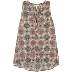 Womens Sleeveless Tops Joie Aruna Printed Silk Georgette Top ($250) ❤ liked on Polyvore featuring tops, joie tops, sleeveless tops, brown sleeveless top, multi color tops and pleated top