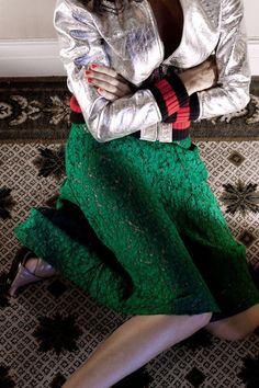A green lace skirt and silver leather bomber jacket trimmed with Web waistband and nude leather crossover sandals from Gucci Cruise Gucci Fashion, Fashion 101, Fashion Online, Luxury Fashion, Fashion News, Kids Fashion, Lace Skirt, Sequin Skirt, Social Media Trends