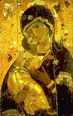 Icon of Theotokos of Vladimir (Our Lady of Vladimir), considered the holy protectress of Russia.  Painted around 1130 in Constantinople during the Comnenian period, it is regarded as one of the best preserved surviving Byzantine icons of that time.  Tempera on panel, 104 cm x 69 cm, housed in the Tretyakov Gallery, Moscow, Russia.