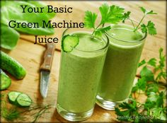 Your Basic Green Machine Juice - If you are new to juicing, this is a great basic recipe that tastes good every time!  Integrative Medicine | Functional Medicine | Nutritionist
