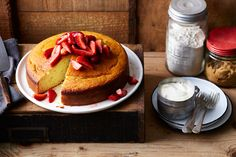 The cake can be lightly dusted with icing sugar, drizzled with honey or, in this instance, served with warm, quickly poached strawberries. Easy Cake Recipes, Dessert Recipes, Healthy Recipes, Mexican Corn Cakes, Apple Tea Cake, Sbs Food, Hazelnut Cake, Bowl Cake, Recipe Mix