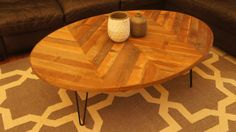 Oval Coffee Table With Chevron Pattern - A Modern Piece Handcrafted Out Of Wood…