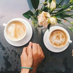 Drinking coffee together..