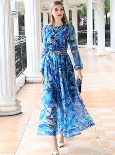 Silk Print Patch Slit Maxi Dress