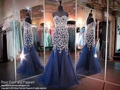 Navy Mermaid Evening Gown completely covered with Crystals-Tulle Sheer Skirt