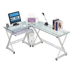 The Techni Mobili L-shaped desk makes a great addition to your study or home office. It's ideal for studying, working or playing computer games. It has a convenient pullout keyboard tray. This desk provides ample space to store a printer, scanner and other computer peripherals. Its L-shaped design easily fits corners. With its silver hardware and steel metal finish, this glass top computer desk blends in your décor. Powder-coated finish provides rust resistance. Maximum wei...