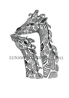 giraffe family Africa safari Serengeti tattoo idea baby nursery art lunawind adult coloring book drawing pen and ink drawing black and white color zentangle intricate drawing whimsical artist love christmas wedding animal nature wildlife tattoo