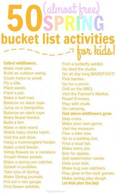 A FUN Spring Time Bucket List for Kids that are all practically free!! #BeforeIDie
