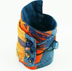 Recycled Denim Bracelet by Flowing Reflections on Etsy.