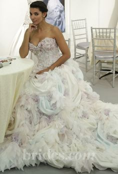 The light shades of blue and purple make this gown so unique  new farage designer wedding dresses - spring 2013