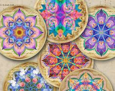 2.5 inch size Spiritual images CHAKRA MANDALAS Digital Collage Sheet for Pocket Mirrors Magnets Paper Weights Printable download by ArtCult