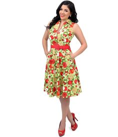 UniqueVintage Voodoo Vixen 1950s Style Green & Red Floral & Apple Print Belted Keira Swing Dress