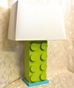 Lego Style Lamp  Your Color Choice Table Lamp by HappywoodGoods, $40.00