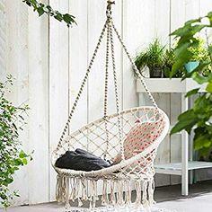 Chaise suspendue, tricotée par corde de coton avec des franges romantiques hamac macramé chaise balançoire pour l'intérieur/extérieur, patio, terrasse, cour, jardin, bar, capacité de 120KG (Le Support de Hamac et les Oreillers ne Sont pas Inclus)): Amazon.fr: Jardin