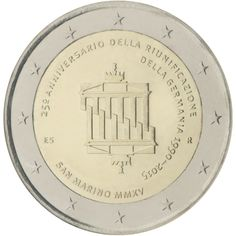 N♡T.2 euro: 25th anniversary of German reunification Country:	San Marino Mintage year:	2015 Issue date:	29.08.2015 Face value:	2 euro Diameter:	25.75 mm Weight:	8.50 g Alloy:	Bimetal: CuNi, nordic gold Quality:	Proof, BU, UNC Mintage:	100,000 pc BU