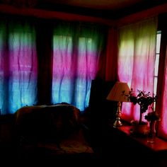 Tie dyed some curtains with the end of my dye bottles :) they look sweet when the sun shows through!