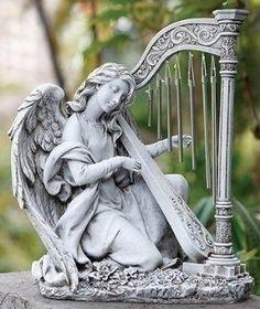 ガーデン天使/ 跪きハープを奏でるエンジェル ウィンドチャイム
