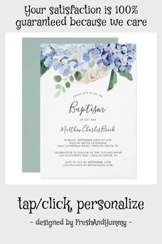 Elegant Blue Hydrangea | White Baptism Invitation #hydrangea #baptism #powder #blue #flowers #Invitation