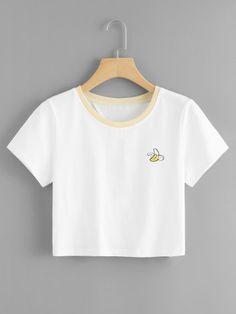 Camiseta corta de espalda con estampado de lema -Spanish Romwe