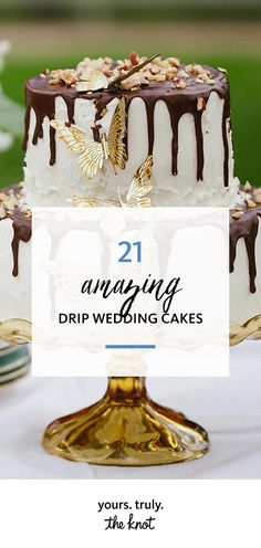 Dress up your tiers with a simple drip design that adds whimsy to a wedding cake without taking away from any pretty embellishments like intricate fondant details or fresh blooms.
