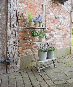 Aged metal finish plant stand/ladder.      Dimensions 48 X 42 X 106 CMS     Easy assembly no tools required     Folds flat when not in use. Perfect for a small space     3 display shelves