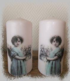 Lys med Sagen servietter Pillar Candles, Decoupage, Lily, Candles