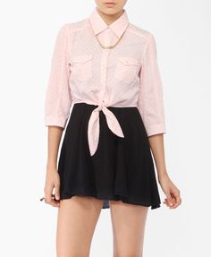 Ditsy Floral Tie Shirt - Forever21 - $17.80