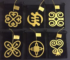 Adinkra Ornaments - Gye Nyame (the supremacy and power of God) - Sankofa (learn from the past to improve your future) - Dame Dame (intelligence and ingenuity) - Besa Saka (power and influence) - Dwennimmen (humility and strength) - Nyame Dua (God's presence and protection)