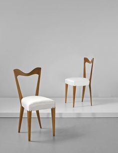 Artist: Gio Ponti Title: Pair of side chairs Medium: Stained walnut, fabric, brass nail heads. Dimensions: Each: 85.7 x 41.5 x 43.5 cm (33 3/4 x 16 3/8 x 17 1/8 in.) Lot Number: 244 Estimate: £3,000 - 5,000  Auction: DESIGN Location: LONDON Sale Date: 21 SEPTEMBER 2016 Website: http://www.phillips.com Phone: US +1 212 940 1228 UK +44 20 7318 4045  Try the Phillips app for yourself -- available from the iTunes App Store http://itunes.apple.com/app/id397496674