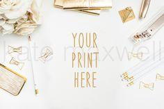 Styled White Desk w/ Garden Roses, Bow Paperclips, White Pencils, & Gold Stapler. LOVE.