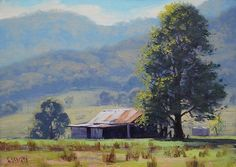 OLD FARM SHED Painting Australia Commissioned Oil Fine Art by G.Gercken