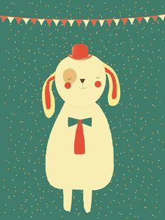 Hond print - Pimpelpluis - https://www.facebook.com/pages/Pimpelpluis/188675421305550?ref=hl - (nursery print illustration kids children art poster dieren kinderen cute illustratie animal dog hond hoed vlaggetjes vrolijk)