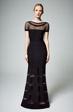 Herve Leger Mesh Panel Bandage Mermaid Gown available at #Nordstrom