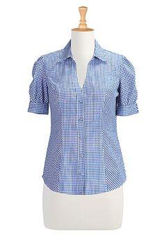 I <3 this Gingham check puffed sleeve shirt from eShakti