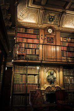 Biblioteca do Castelo de Chantilly, em Oise, na França. Na biblioteca encontram-se 500 manuscritos e 12.000 volumes, entre eles um exemplar da Bíblia de Gutenberg. A biblioteca foi formada por Henrique de Orleães, o duque d'Aumale, que instalou no castelo suas coleções de livros antigos, pinturas e desenhos. Isto por volta da década de 1870. Hoje o castelo pertence ao Instituto da França.