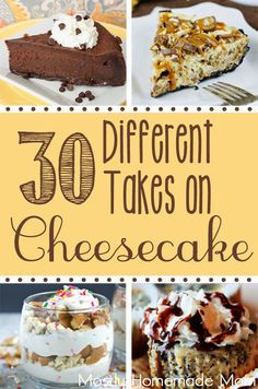 30 Different Takes on Cheesecake! - An awesome roundup of 30 cheesecake recipes… Healthy Cheesecake, Baked Cheesecake Recipe, Best Cheesecake, Gourmet Recipes, Dessert Recipes, Cooking Recipes, Party Recipes, Cupcakes, Cupcake Cakes